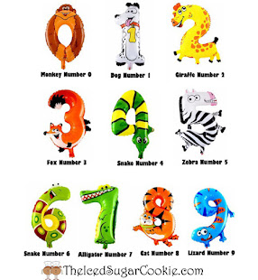 Animal Number Balloons