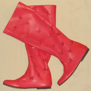cizme rosii piele perforata