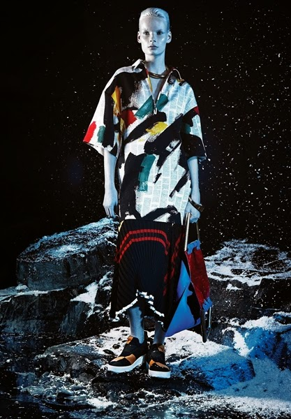 Céline 2014 SS Editorial : Brassai Brush Stroke Newspaper Print on Wool Satin Top