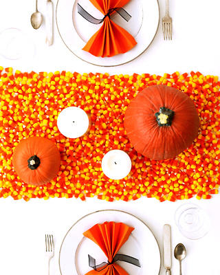 Halloween party candy corn decor