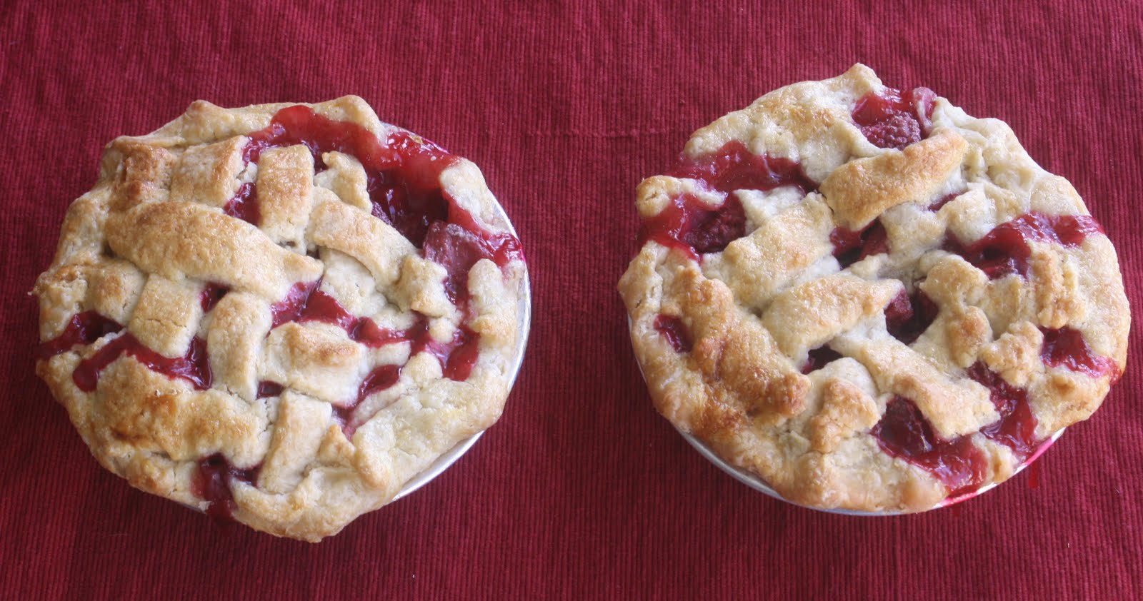SMS: Plum and Raspberry Pie with a Sweet Almond Lattice