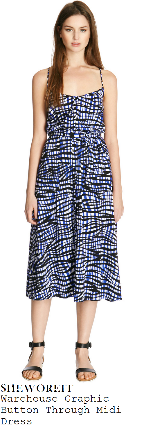 jennifer-metcalfe-black-blue-and-white-graphic-line-print-sleeveless-midi-dress