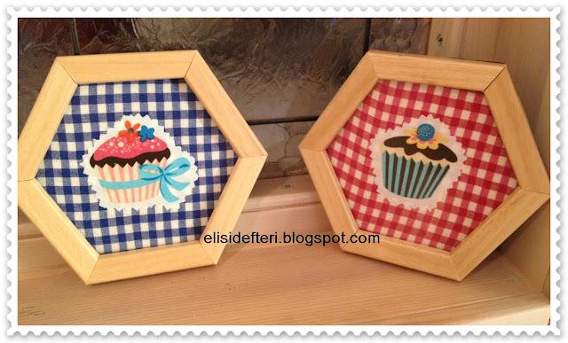 cupcake desenli bardak altlıkları