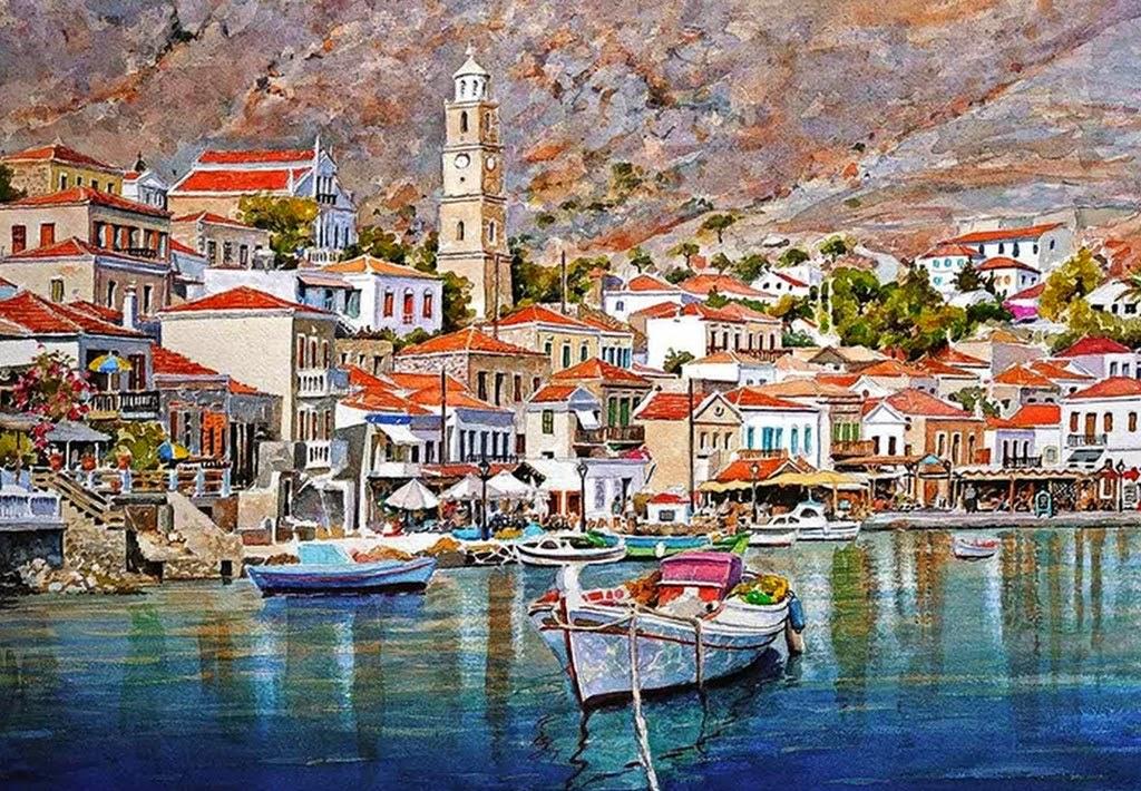 pinturas-paisajes-con-puertos-y-barcos
