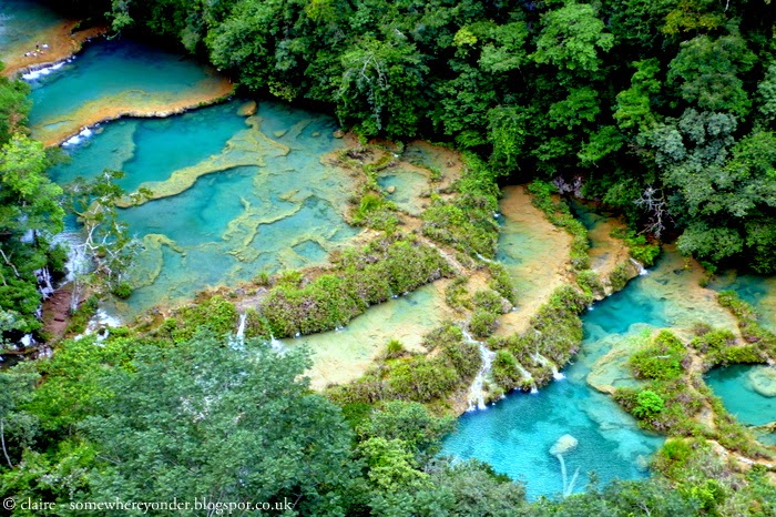 view of Semuc Champey, Guatemala from above