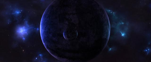 Terra e lua luz azul