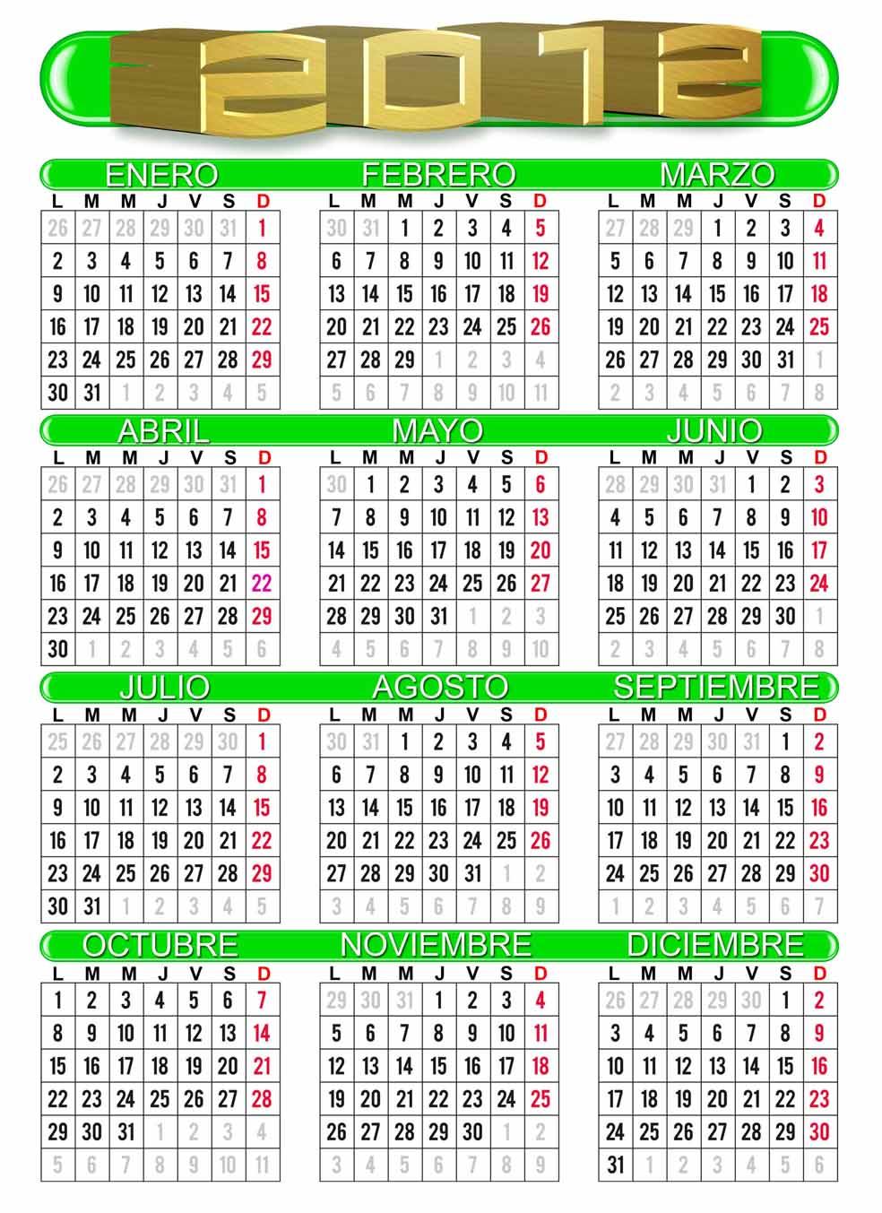 Desacarga Aqui Los Calendarios
