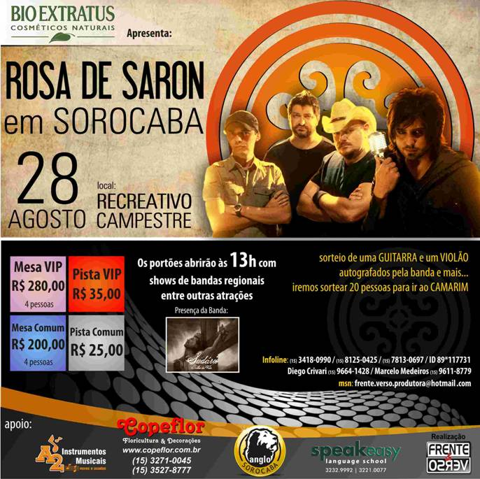 jardim rosas de saron: ainda estamos juntos aqui 2 ♪!: Rosa de Saron – agenda de Shows 2011