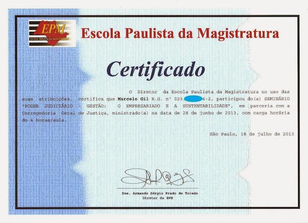 CERTIFICADO DE PARTICIPAÇÃO EM SEMINÁRIO DA ESCOLA PAULISTA DE MAGISTRATURA - 2013