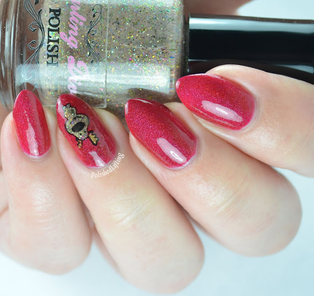 Reindeer nail art featuring Darling Diva Polish Angels to Some Demons to Others, Northern Star Polish Protego Totalum, Bohemian Polish Lake Placid Gold, and Sinful Colors Black on Black