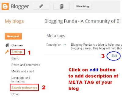 How to add meta tag description of a Blog by BloggingFunda