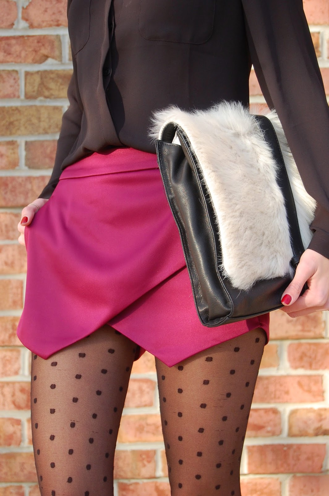 Wearing Express Satin Asymmetrical Hem Skirt, Little Liffner Furry Clutch, Zara Suede Platform Booties, Holiday Glam Party Look