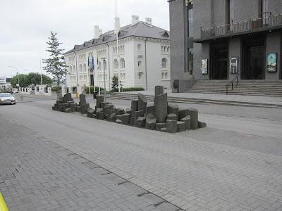 Reykjavik Basalt Formation In a Street