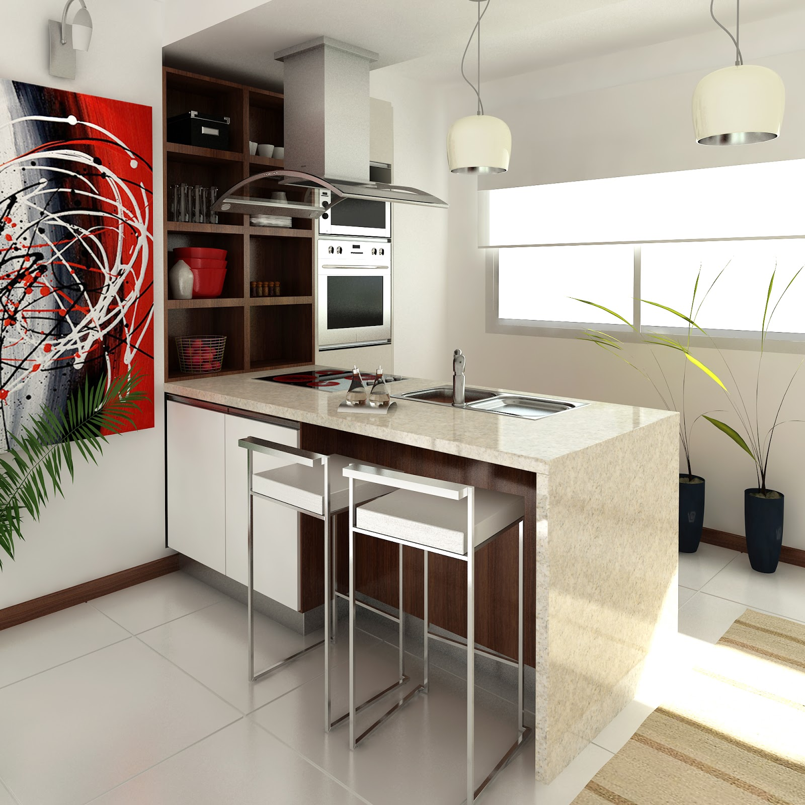 Arquitectura en im genes 3d dise o de interiores cocinas for Diseno de interiores cocinas pequenas