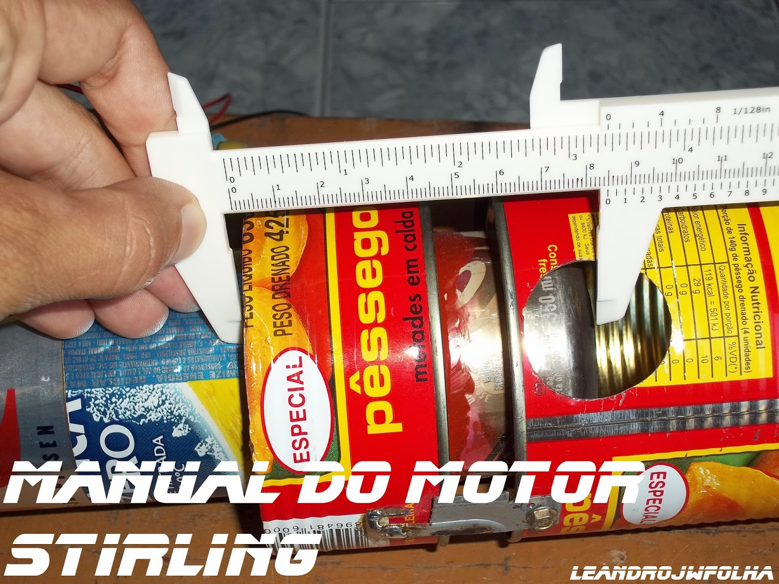 Manual do motor Stirling, 85 mm de comprimento o cilindro quente