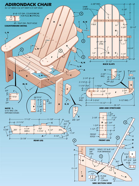 Adirondack chair plans - Ligstoel pour table ...