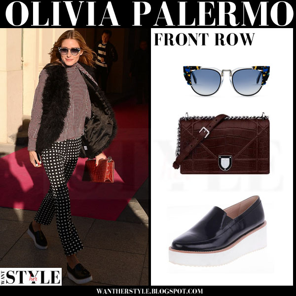 Olivia Palermo in fur gilet, printed trousers and platform sol sana tabbie loafers what she wore fashion week