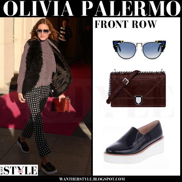 8f2da491e6d Olivia Palermo in black patent platform loafers at Schiaparelli ...