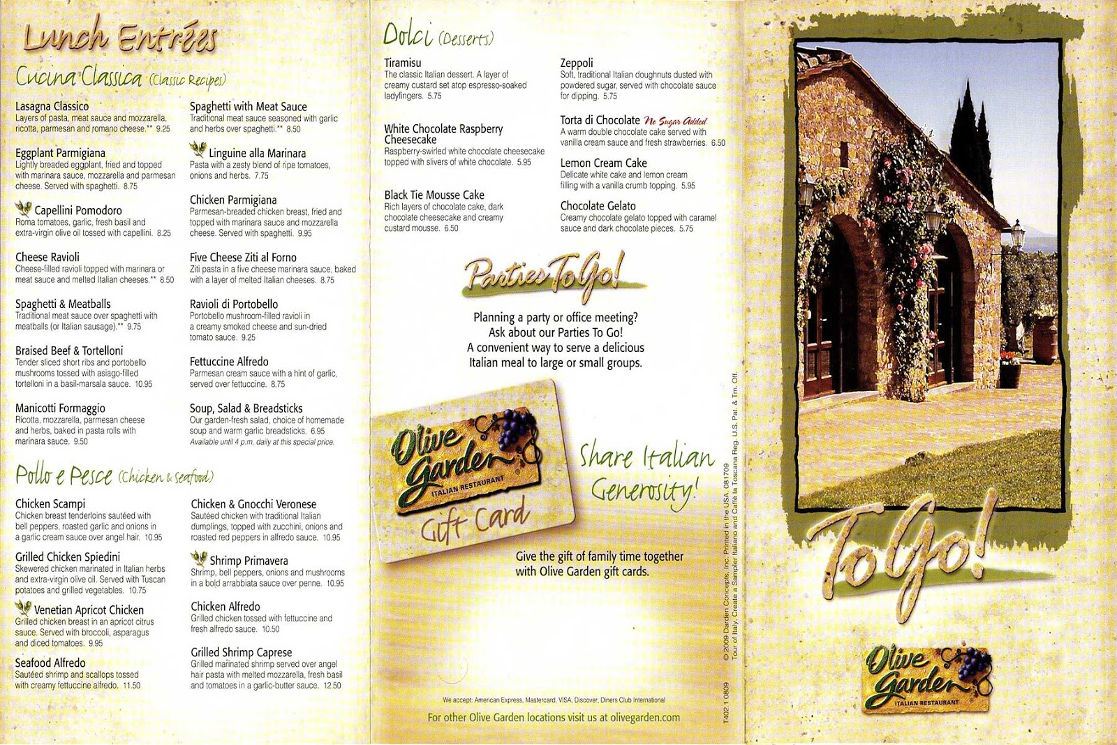 Olive garden menu to go pdf Does olive garden have take out