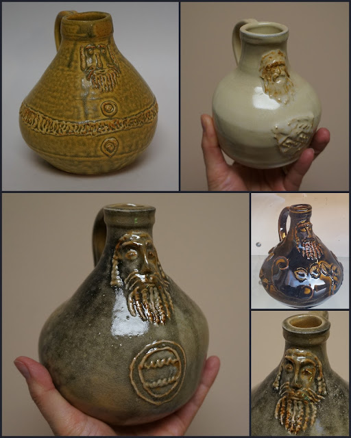 Beautiful replica Bartmann pottery jugs by Lily L.