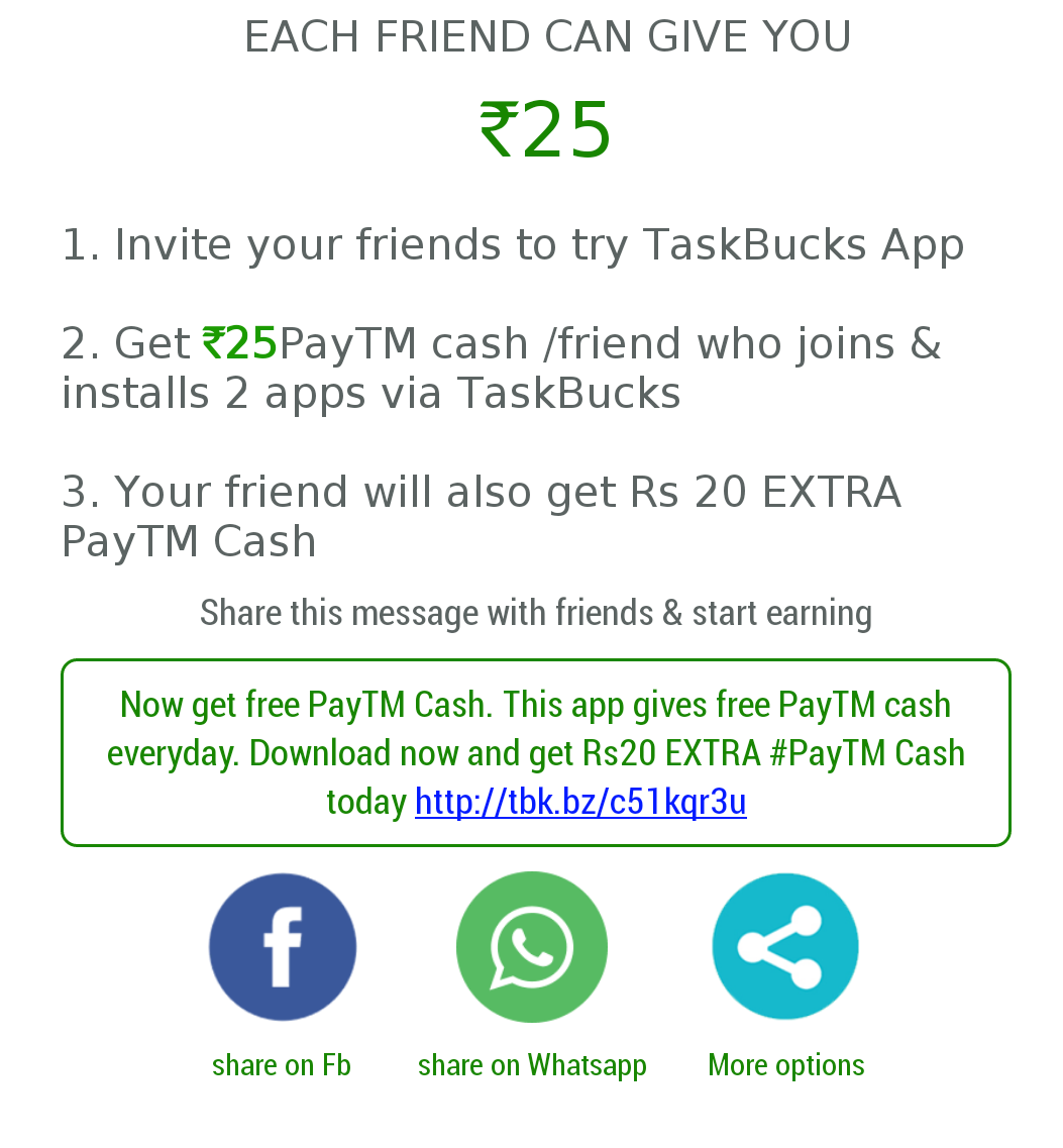 Download Taskbucks App Refer Your Friends And Earn Free Rs 25 Paytm