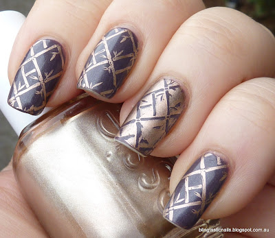 Sinful Colors Winterberry with Essie Penny Talk stamping