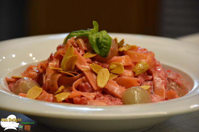 purpura pasta with beetroot cream
