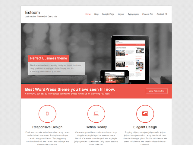 Esteem - free creative WordPress theme