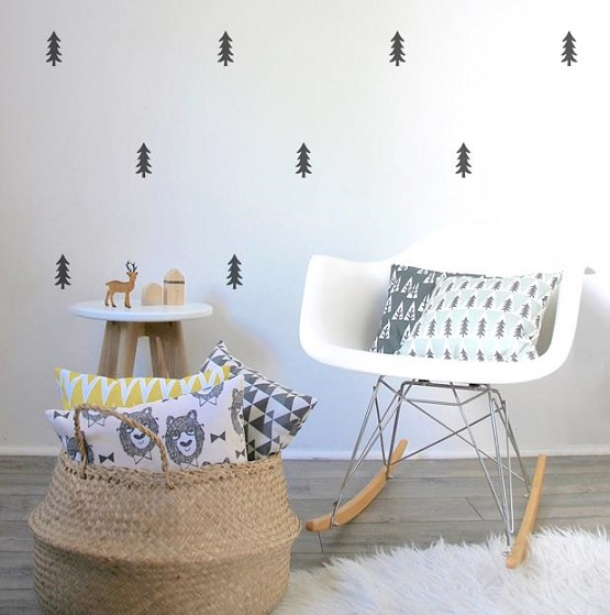 Small low cost habitaciones infantiles con vinilos en color negro - Vinilos de arboles para paredes ...