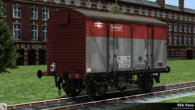 Fastline Simulation - VEA Vans: This heavily faded Railfreight liveried VEA van has been carrying compressed gas and still has a battery tail lamp hung on the lamp bracket.