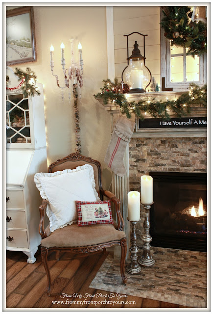 French Chair-Lanterns-Christmas Mantel 2015-From My Front Porch To Yours