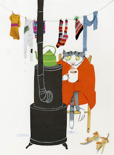 illustration by Robert Wagt of a cat getting warm in front of a stove