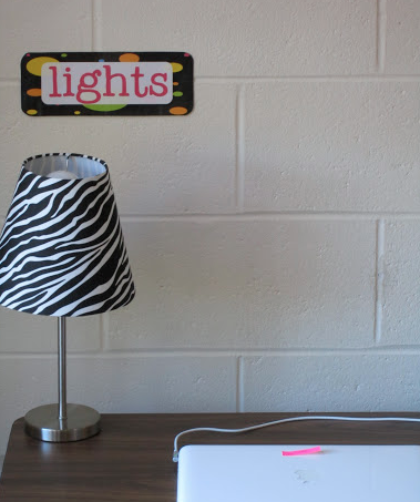 classroom lamp and labels