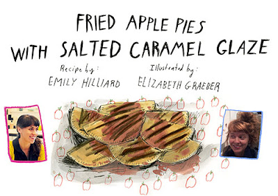 Fried Apple Pies with Salted Caramel Glaze on Design Sponge Illustrated by Elizabeth Graeber