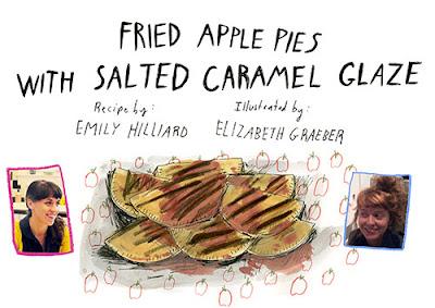 Fried Apple Pies with Salted Caramel Glaze on Design Sponge Illustrated by Elizabeth Graeber