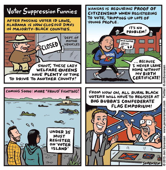 Cartoon lampooning Republican efforts to keep citizens from voting.