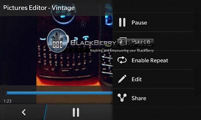 Les traemos una captura de lo que es el reproductor de videos en BlackBerry 10, que incluye herramientas nativas para editarlo sin necesidad de dañar el video original.