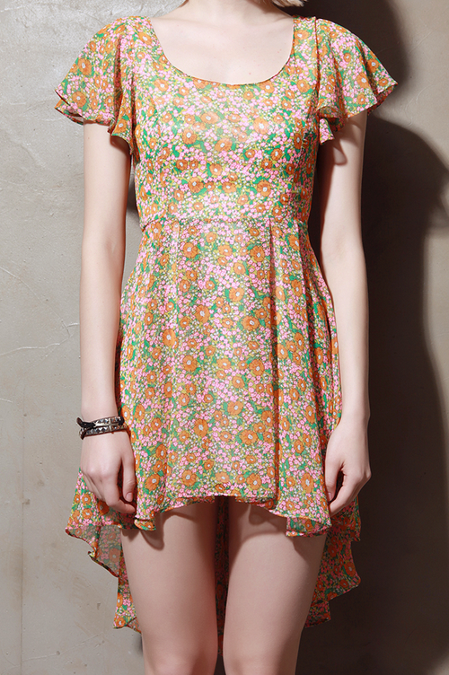 Cut Out Back Floral Chiffon Mullet Dress