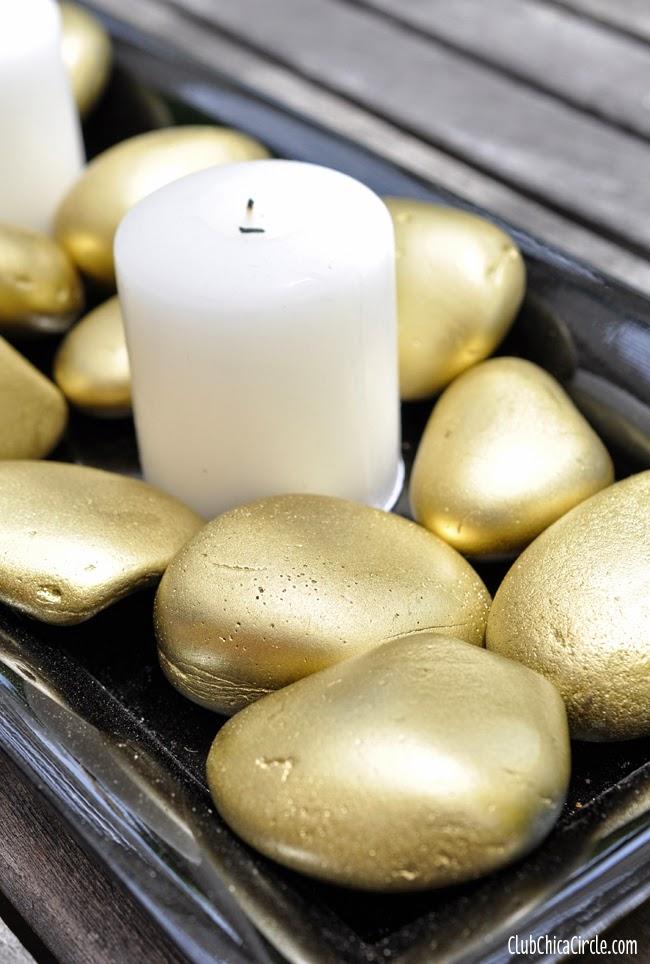 Gold rock candle centerpiece easy home decor craft idea