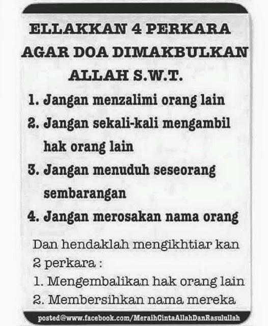 Elakkan 4 perkara agar doa dimakbulkan, tazkirah pagi