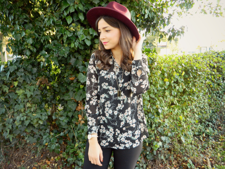 Love From Lisa Floral Shirt & Burgundy Fedora