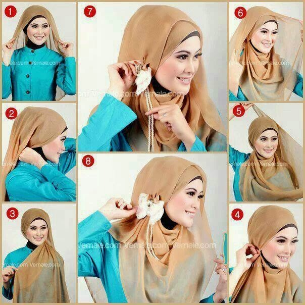 Cara Memakai Jilbab Kreasi Bunga