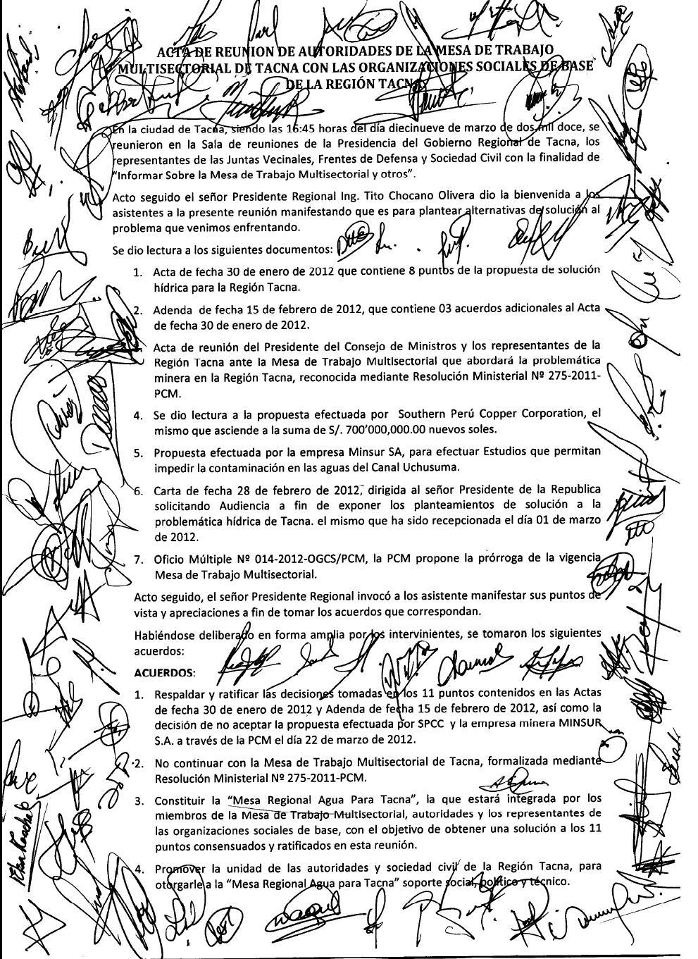 GRUPO INICIATIVA ANTICORRUPCION ILO: 78 personas firman acta que ...