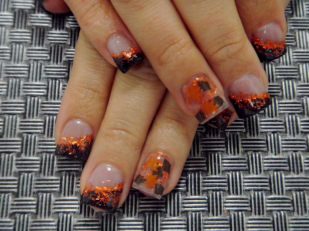 fall acrylic nail art