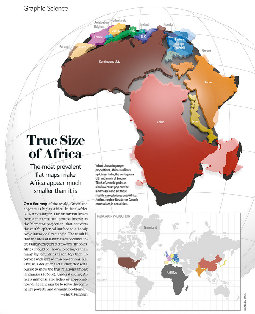 Cartonerd true size of africa now in three dee now lets be clear the aim of educating people that the mercator projection distorts our perception of reality and that africa as a continent has suffered gumiabroncs