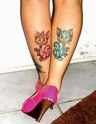 Tatuagens de Gato na Perna
