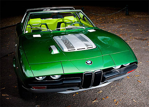 Beautiful 1969 BMW Spicup, open-top sports car in green with lime-green leather interior.