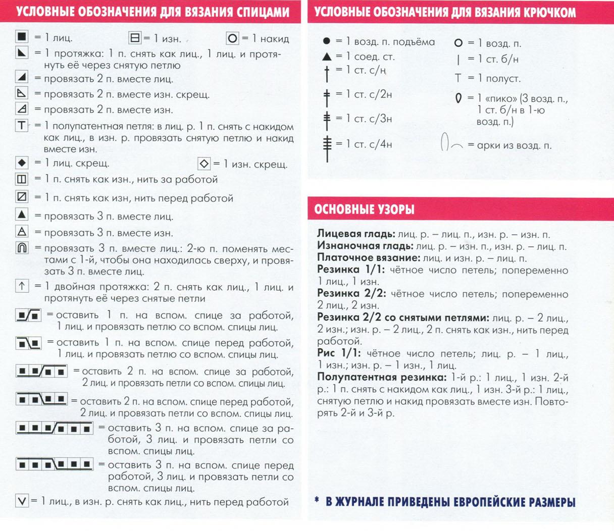 Условные обозначения к схеме вышивки