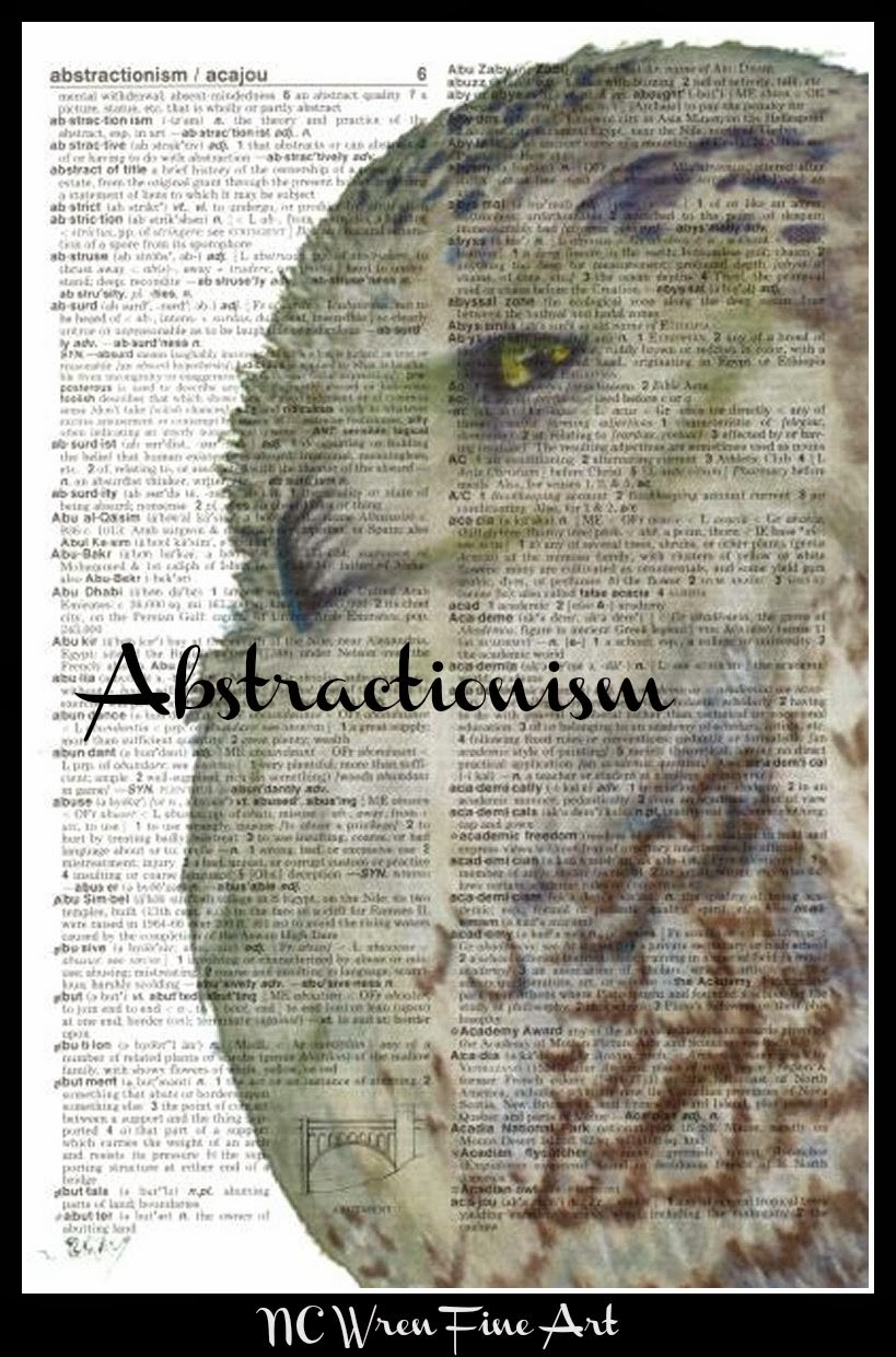abstractionism, snowy owl, free artwork, ncwren, dictionary art, altered art