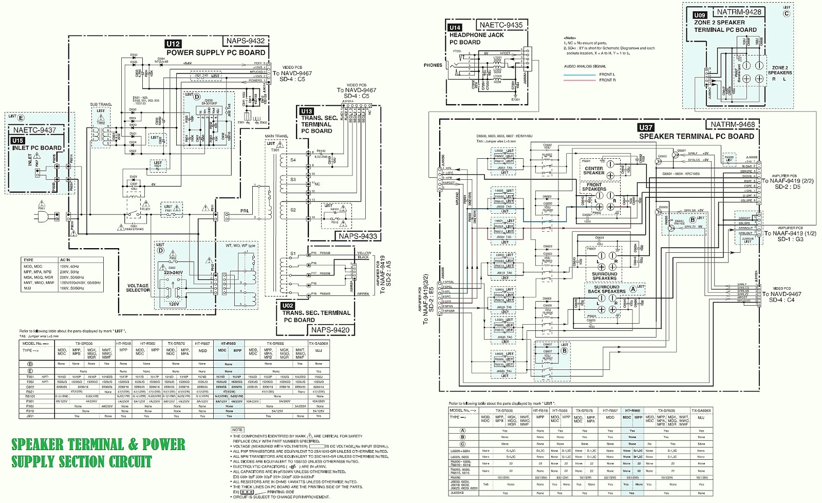 onkyo ht r960 7 1 channel htr circuit diagram schematic diagrams